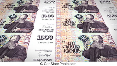 Banknotes of one thousand kroner or crowns of Iceland...