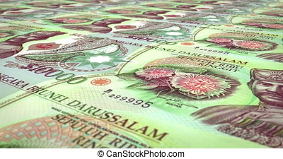 Banknotes of one thousand ringgits or bruneian dollars...