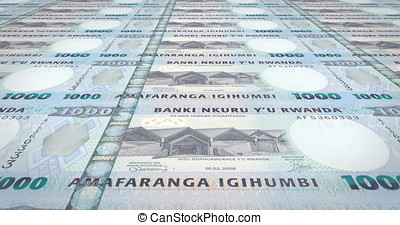 Banknotes of one thousand Rwandan francs of Rwanda, cash money, loop