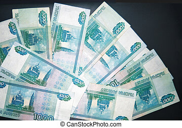 Banknotes of Russian rubles close-up. Background of money.