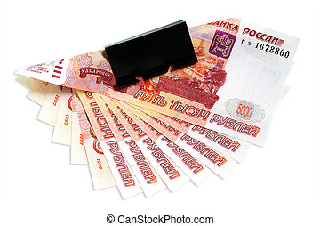 Banknotes of Russian rubles on a white background.