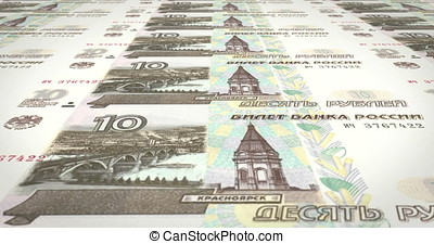 Banknotes of ten rubles russians rolling on screen, cash...
