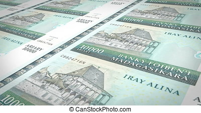 Banknotes of ten thousand malagasy ariary of Madagascar,...