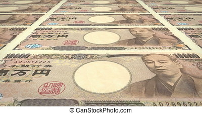 Banknotes of ten thousand yen japanese rolling on screen, cash money, loop