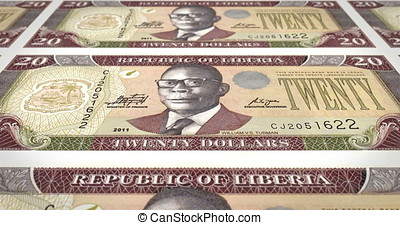 Banknotes of twenty dollar liberians of Liberia rolling,...