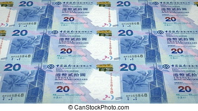 Banknotes of twenty dollars of Hong Kong rolling, cash...