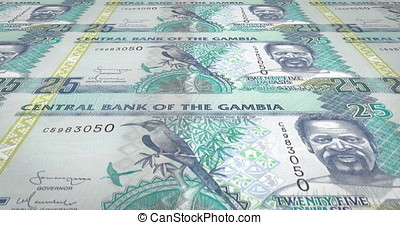 Banknotes of twenty five gambian dalasis of Gambia rolling,...
