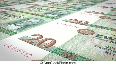 Banknotes of twenty german marks of the old German republic, cash money
