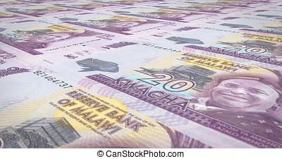 Banknotes of twenty malawian kwacha of Malawi rolling, cash...