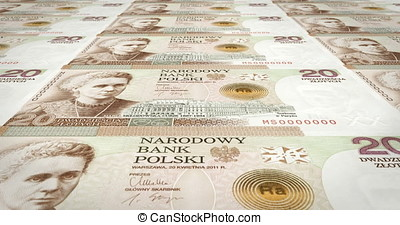 Banknotes of twenty polish zlotys of Poland rolling, cash...