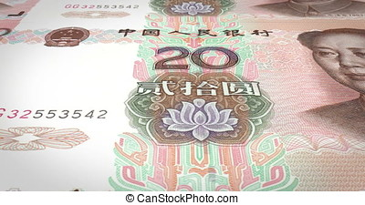 Banknotes of twenty renminbi chinese rolling on screen, cash money, loop