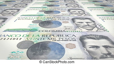 Banknotes of twenty thousand colombian pesos of Colombia,...
