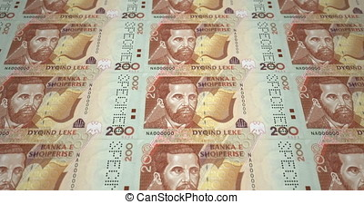 Banknotes of two hundred albanian lek of Albany rolling, cash money, loop