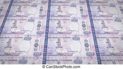 Banknotes of two thousand Rwandan francs of Rwanda, cash money, loop