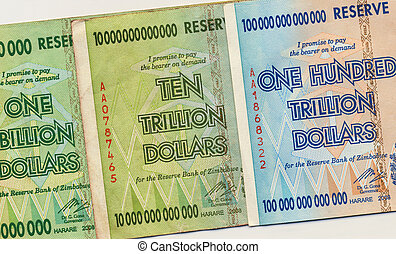 Banknotes of Zimbabwe including a banknote of one hundred trillion dollars. This banknote has the highest nominal value in history. The hyper-inflation in Zimbabwe in 2008 and 2009 broke every record. (No longer in circulation)