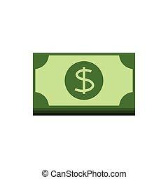 banknotes, płaski, dolar, ikona