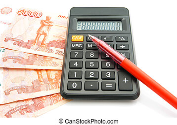 banknotes, pen and black calculator