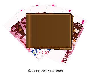 banknotes, portfel, dziesięć euro