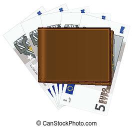 banknotes, portfel, pięć euro