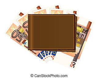 banknotes, portfel, pięćdziesiąt euro