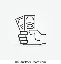 banknotes, ręka, dolar, ikona