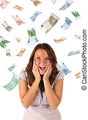 banknotes), soldi, pioggia, (euro