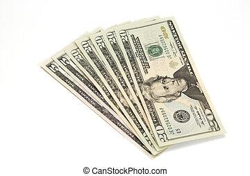 Banknotes twenty and five U.S. dollars