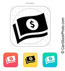 Banknotes with dollar sign icon.