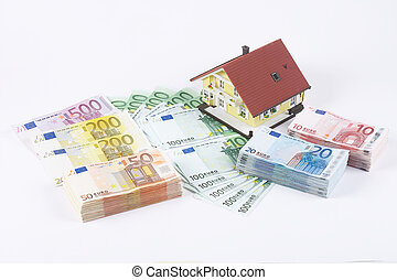 banknotes with house