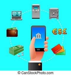 bankowość dogląda, ikony