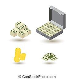 bankowość, komplet, handlowy, ikona