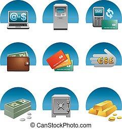 bankowość, komplet, ikona