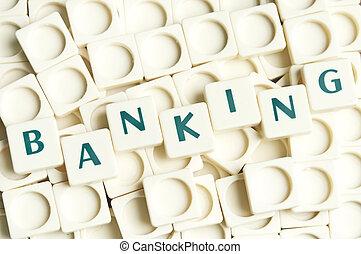 bankowość, słowo, robiony, przez, leter, kawałki