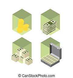 bankowość, set., handlowy, ikona