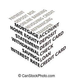 bankowość, sześcian, terminy, typografia, 3d