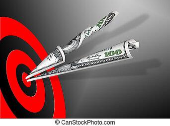 bankpapier, dollars, &, honderd, doel