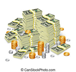 bankpapier, geld, concept, stapel, muntjes