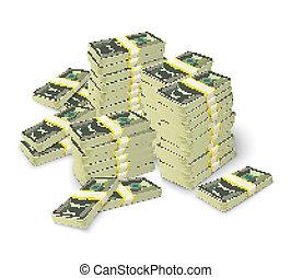 bankpapier, geld, concept, stapel, opperen
