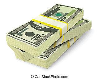bankpapier, geld, concept, stapel