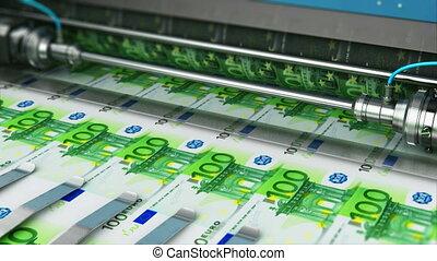 bankpapier, geld, honderd, bezig met afdrukken van,...
