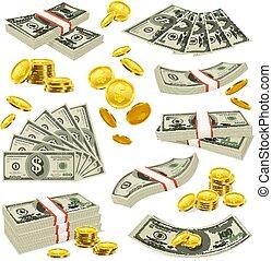 bankpapier, geld, set, muntjes, realistisch