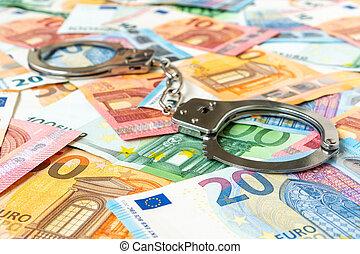 bankpapier, handcuffs, metaal, eurobiljet