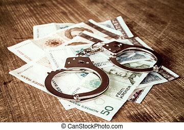 bankpapier, noor, handcuffs, metaal, kroner