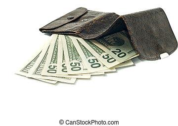 bankpapier, portemonaie, dollar, ons