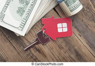 bankpapier, tegen, woning, op, dollar, achtergrond, houten, sleutels, honderd
