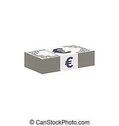 bankpapier, valuta, stapel, symbool, eurobiljet