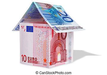 bankpapier, woning, gemaakt, eurobiljet