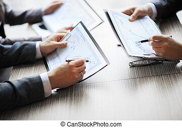 bankrörelse, affär, eller, finansiell analytiker, skrivbord, bokföring, topplista