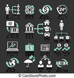 bankrörelse, affär, ikonen