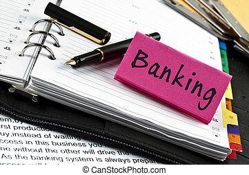 bankrörelse, anteckna, på, dagordning, och, penna